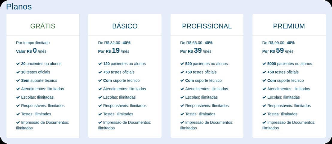 Preços e planos da PsiquEasy